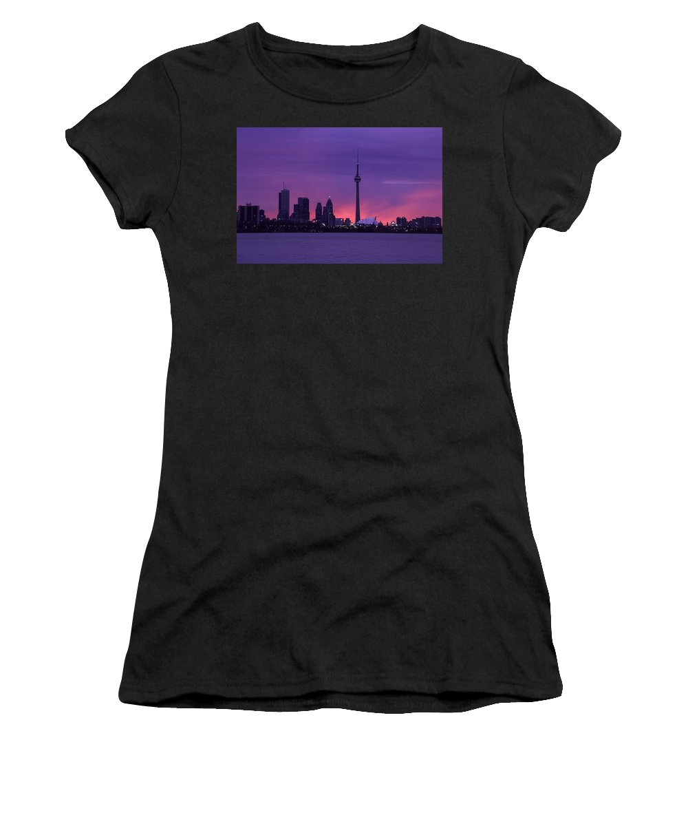 Toronto Women's T-Shirt (Athletic Fit) featuring the photograph Purple Skyline by Richard Kitchen