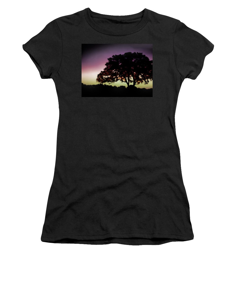 Nature Women's T-Shirt featuring the painting Purple Sunset Green Flash And Oak Tree Silhouette by Elaine Plesser