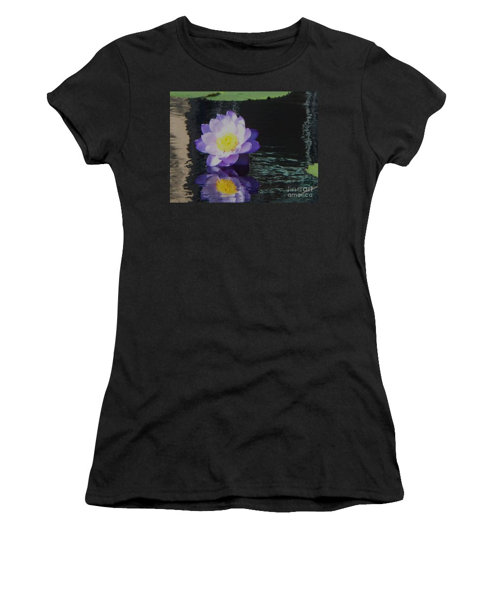 Photograph Women's T-Shirt (Athletic Fit) featuring the photograph Purple White Yellow Lily by Eric Schiabor
