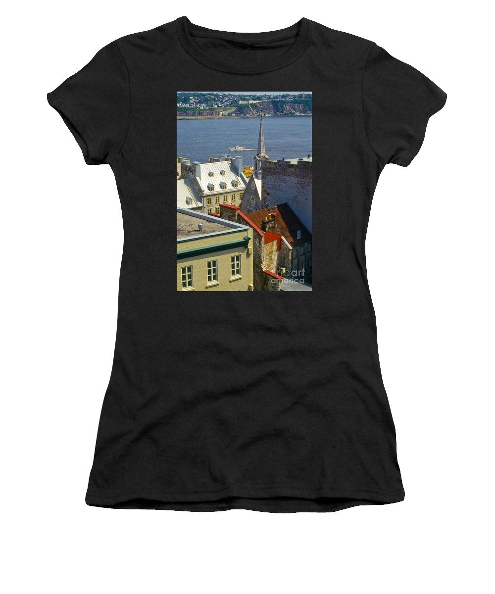 Lower Town Quebec Canada Church Churches Building Buildings Structures Structure Saint St. Lawrence River Rivers Water Architecture City Cities Cityscape Cityscapes Landscape Landscapes Women's T-Shirt (Athletic Fit) featuring the photograph Quebec Lower Town by Bob Phillips