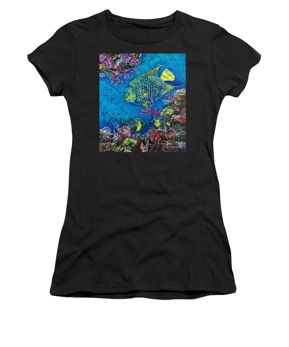 Angelfish Women's T-Shirt (Athletic Fit) featuring the painting Queen Of The Sea by Sue Duda
