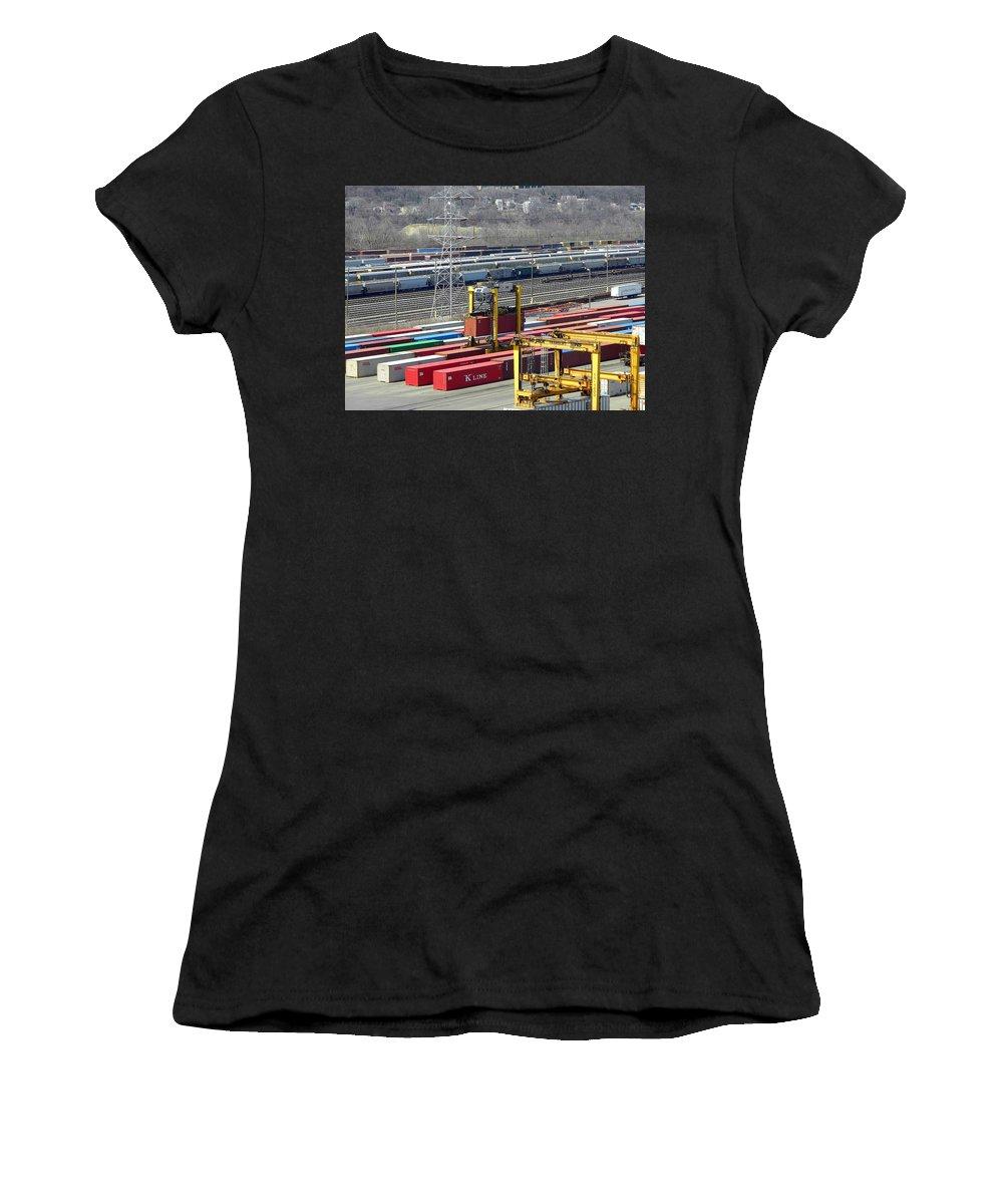 Trains Women's T-Shirt featuring the photograph Queensgate Yard Cincinnati Ohio by Kathy Barney