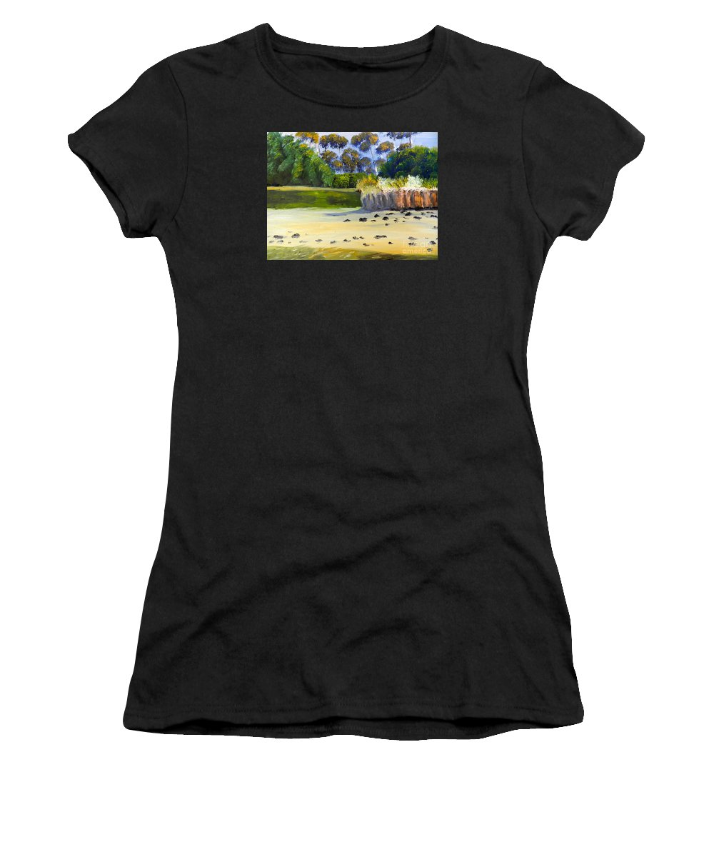 Impressionist Women's T-Shirt (Athletic Fit) featuring the painting Quiet Sand By The Creek by Pamela Meredith