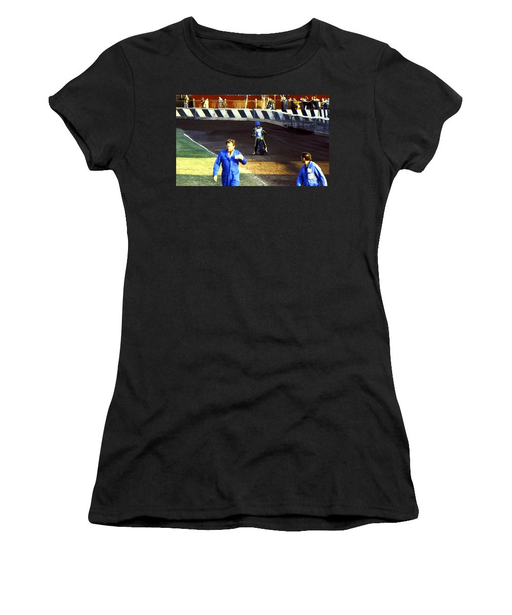 Speedway Women's T-Shirt featuring the photograph Race Over by Guy Pettingell