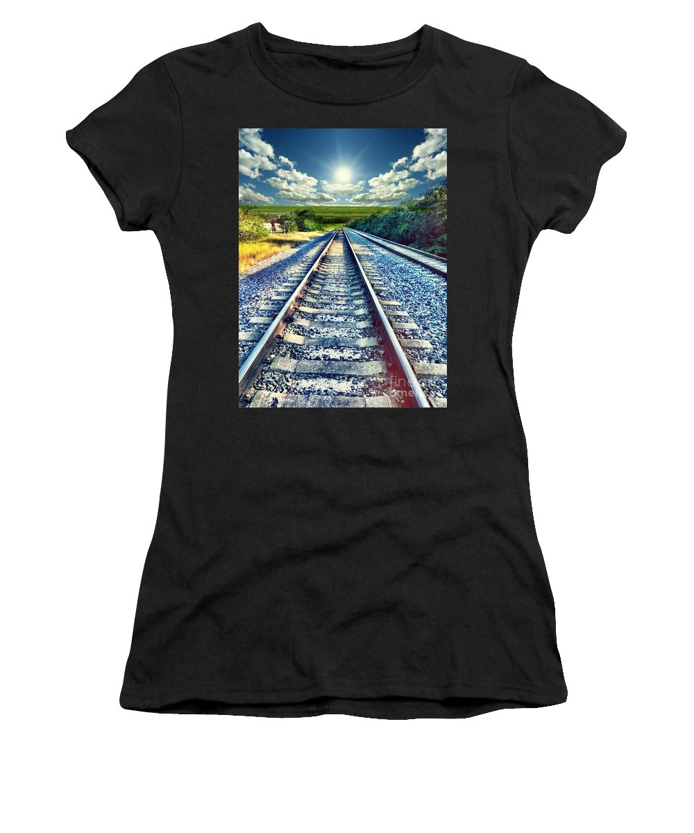 Colors Women's T-Shirt featuring the photograph Railroad To Heaven by Carlos Avila