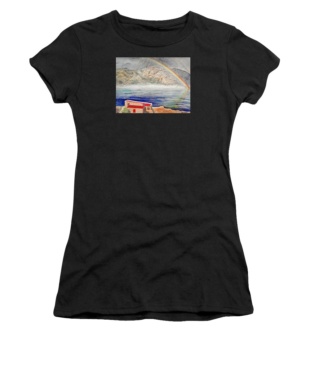 Rainbow Women's T-Shirt featuring the painting Rainbow Over Hermanus by Michael Durst