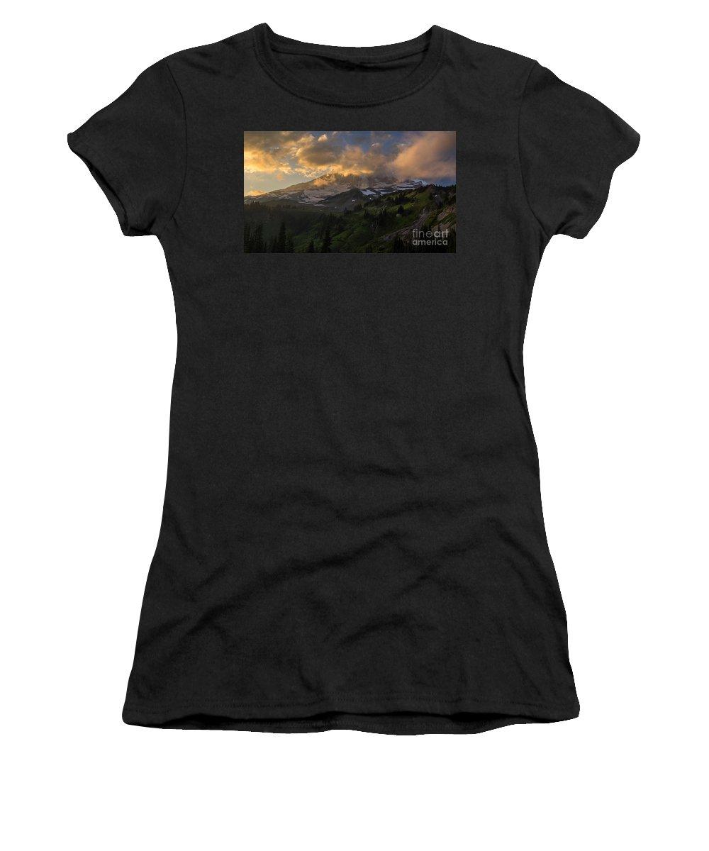 Rainier Women's T-Shirt featuring the photograph Rainier Evening Skies Drama by Mike Reid