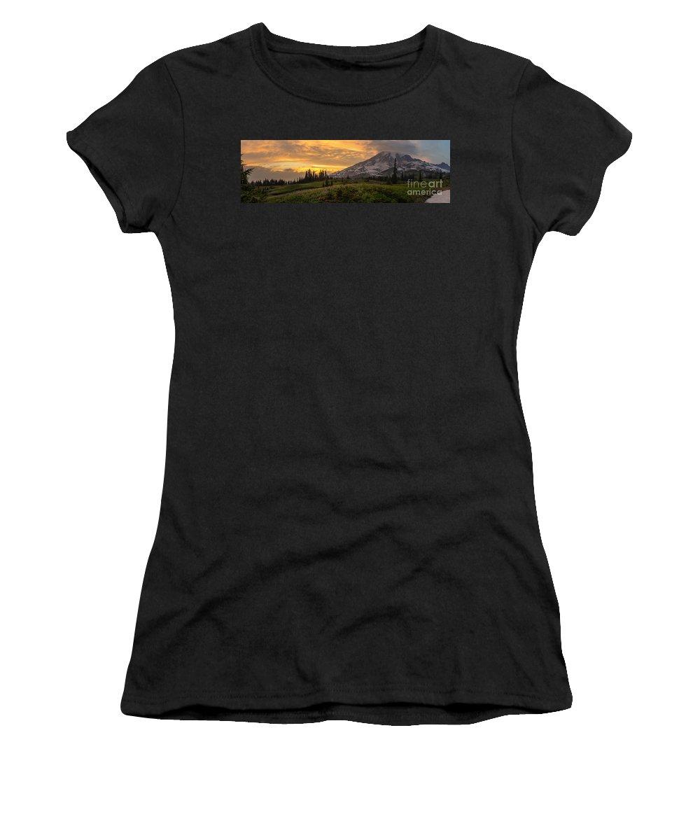 Rainier Women's T-Shirt featuring the photograph Rainier Wildflowers Meadow Sunset by Mike Reid