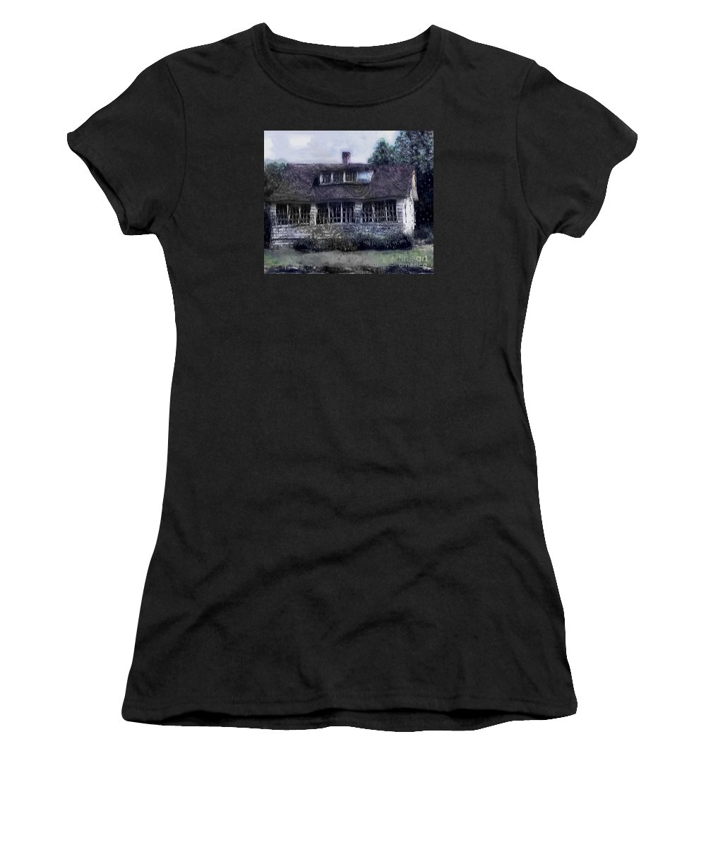 House Women's T-Shirt (Athletic Fit) featuring the painting Rainy Day Long Ago House by RC deWinter