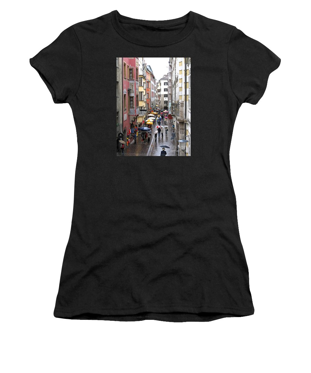 Innsbruck Women's T-Shirt (Athletic Fit) featuring the photograph Rainy Day Shopping by Ann Horn