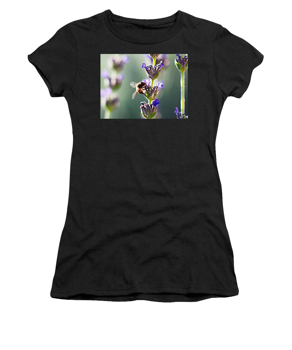 Honeybee Women's T-Shirt (Athletic Fit) featuring the photograph Random Lavender Sampling by Joe Schofield