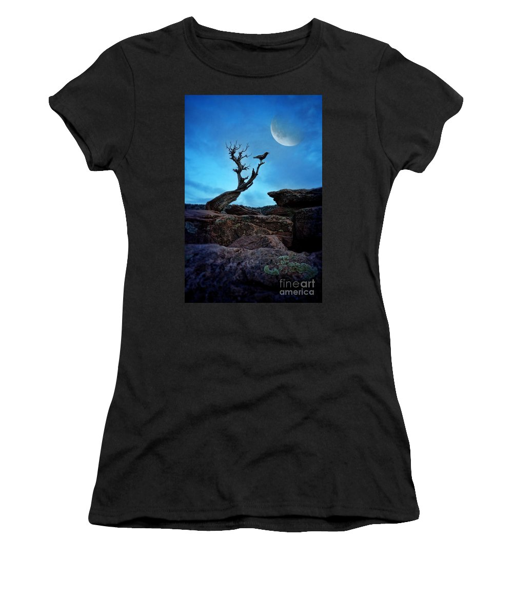 Raven Women's T-Shirt featuring the photograph Raven On Twisted Tree With Moon by Jill Battaglia