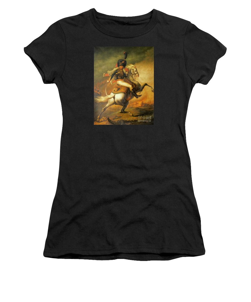 Art Women's T-Shirt (Athletic Fit) featuring the painting Re Classic Oil Painting General On Canvas#16-2-5-08 by Hongtao   Huang