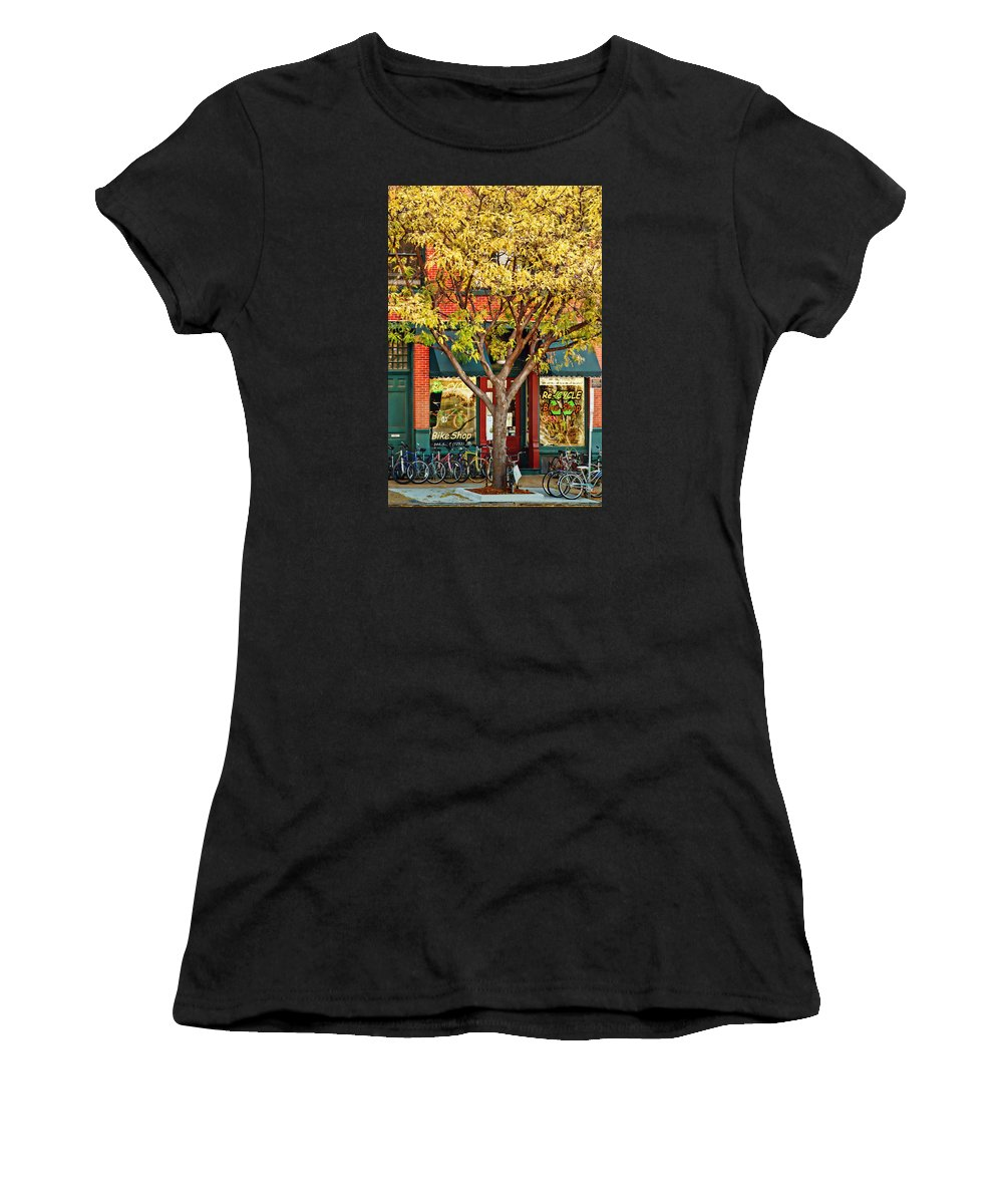 Recycle Women's T-Shirt featuring the photograph Re-cycle Bike Shop by Nikolyn McDonald