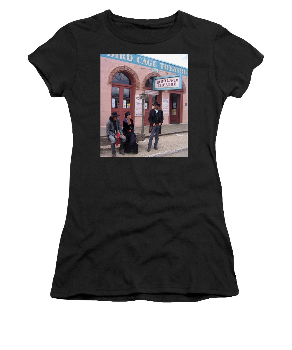 Re-enactors Bird Cage Theater Rendezvous Of The Gunfighters Tombstone Arizona 2004      Women's T-Shirt (Athletic Fit) featuring the photograph Re-enactors Bird Cage Theater Rendezvous Of The Gunfighters Tombstone Arizona 2004      by David Lee Guss