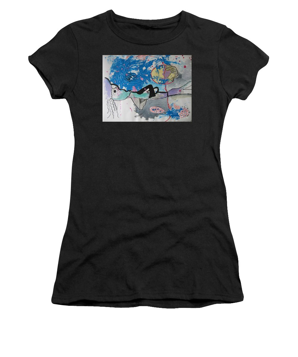 Abstract Paintings Women's T-Shirt featuring the painting Read My Mind2 by Seon-Jeong Kim