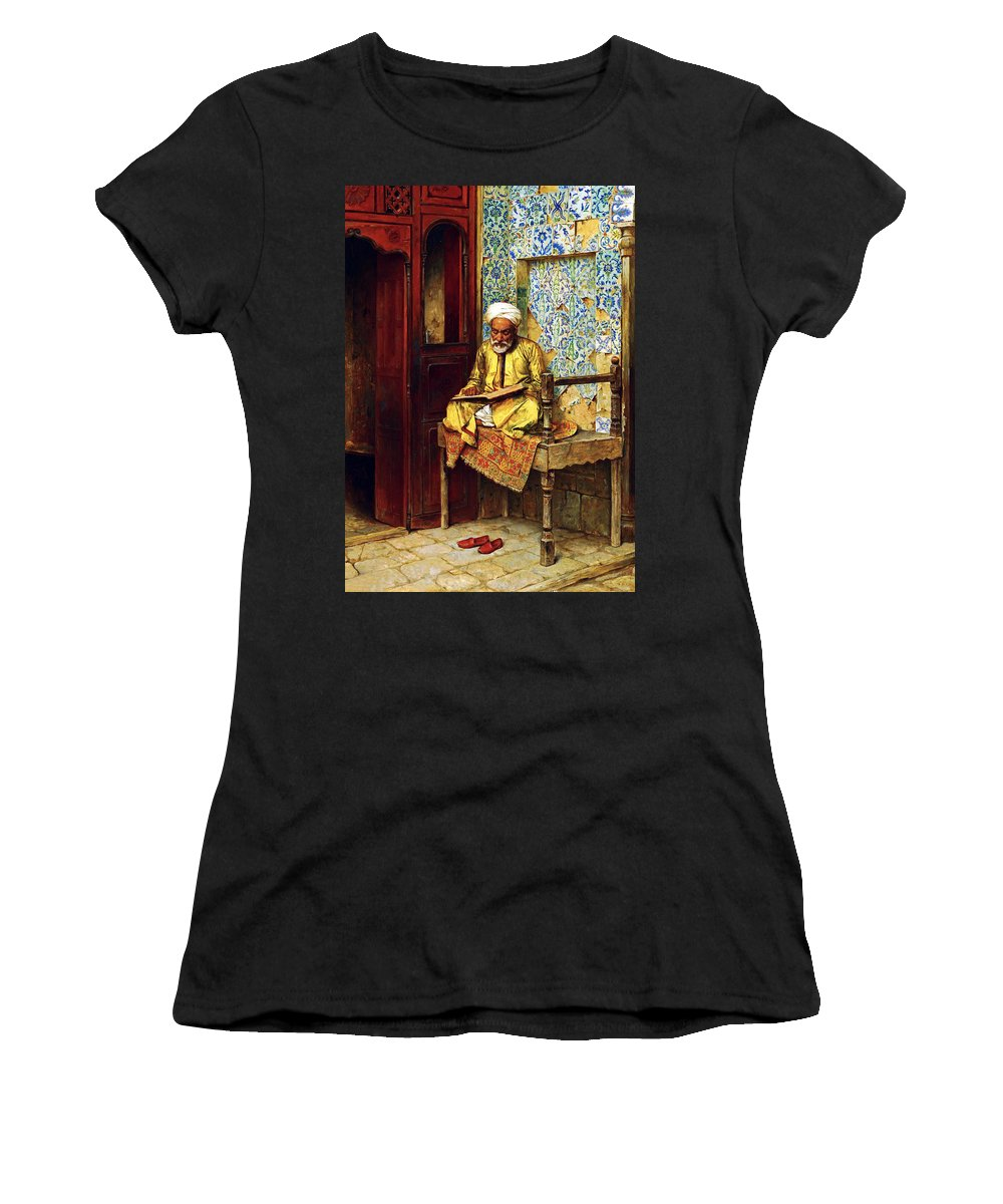 Orientalism Women's T-Shirt featuring the photograph Reading In 1888 by Munir Alawi