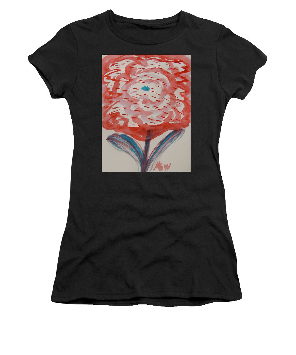 Bloom Women's T-Shirt featuring the painting Red And Baby Blue by Mary Carol Williams