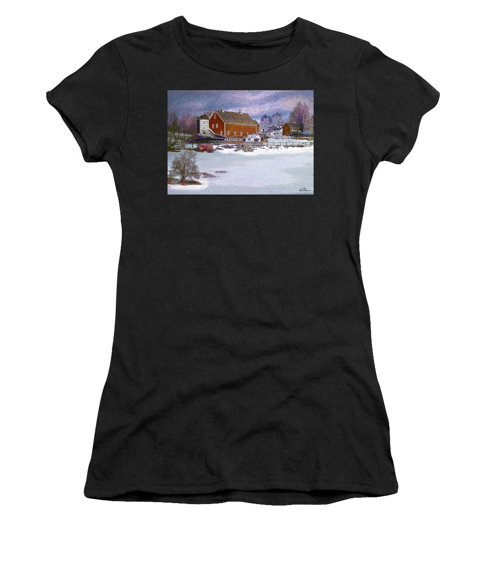 Vermont Women's T-Shirt (Athletic Fit) featuring the digital art Red Barn In Winter by Nancy Griswold