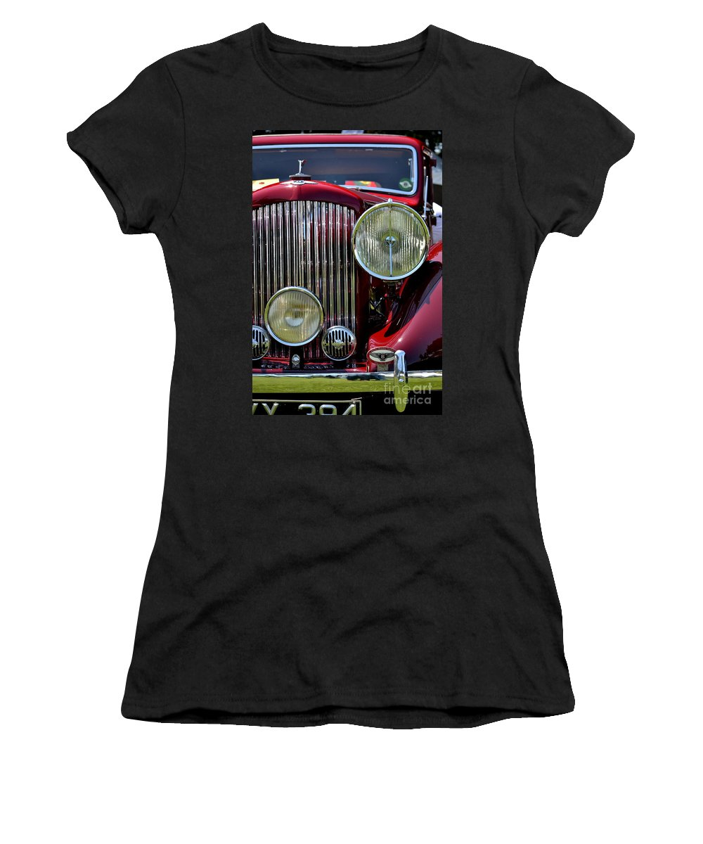 Women's T-Shirt featuring the photograph Red Bentley Grill by Dean Ferreira