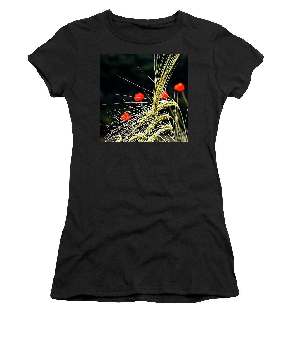 Red Corn Poppies Women's T-Shirt (Athletic Fit) featuring the photograph Red Corn Poppies by Heiko Koehrer-Wagner