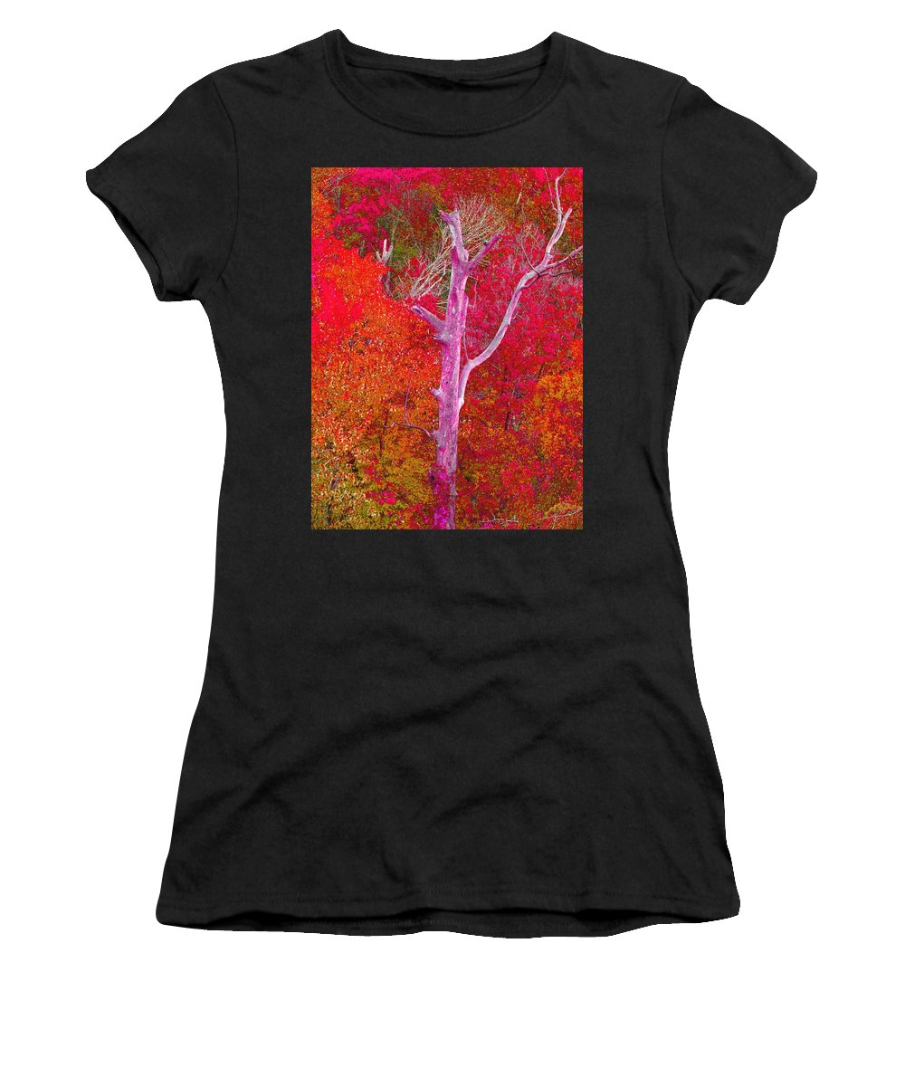 Pink Women's T-Shirt featuring the mixed media Pink Tree In A Red Forest by Stacie Siemsen