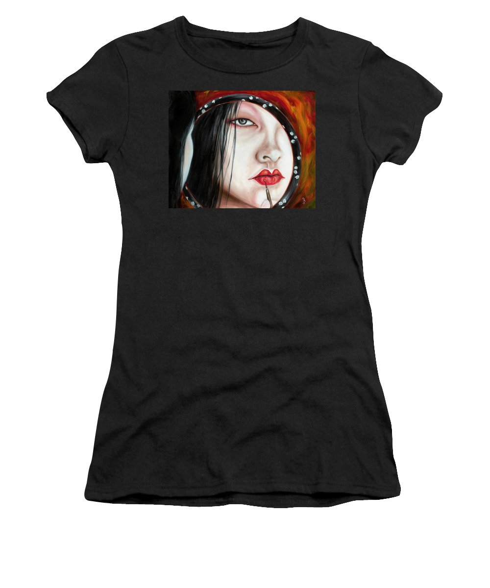 Japanese Woman Women's T-Shirt (Athletic Fit) featuring the painting Red by Hiroko Sakai