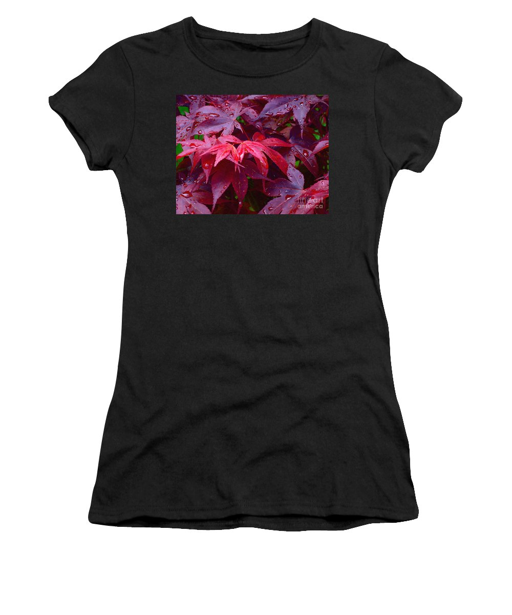 Rain Women's T-Shirt (Athletic Fit) featuring the photograph Red Maple After Rain by Ann Horn