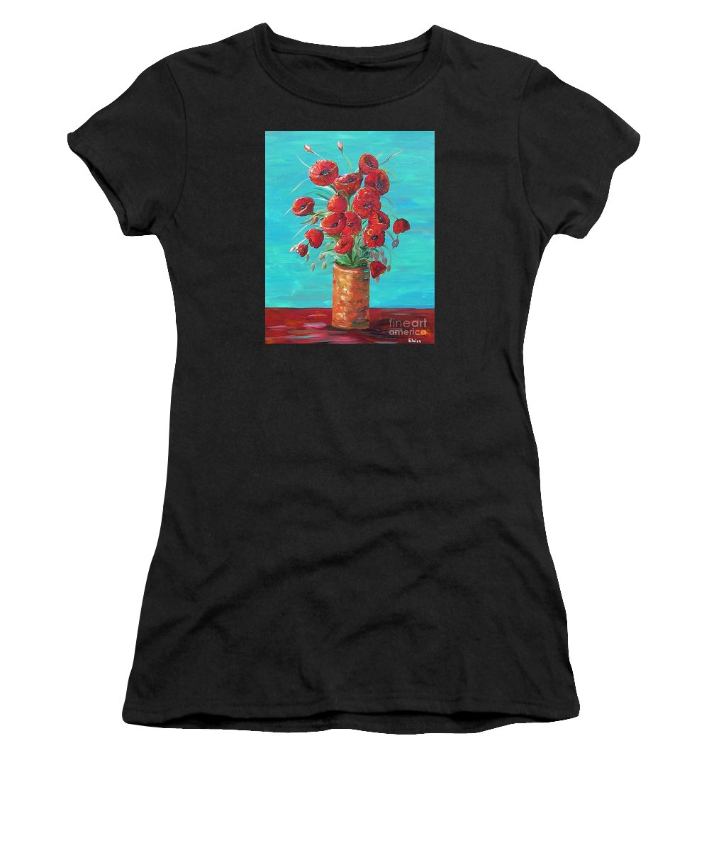 Poppy Women's T-Shirt featuring the painting Red On My Table by Eloise Schneider Mote