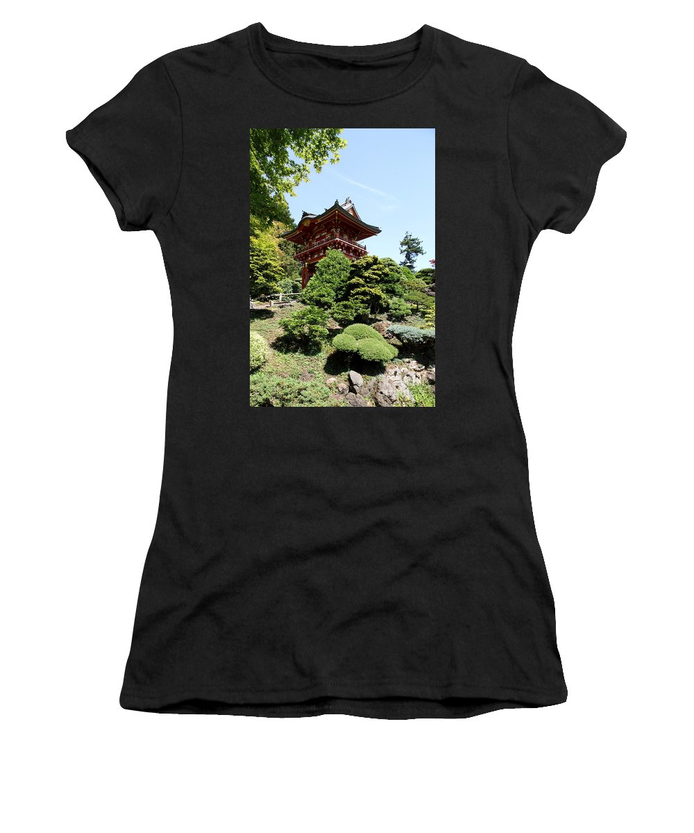 Red Gate Women's T-Shirt (Athletic Fit) featuring the photograph Red Pagoda by Christiane Schulze Art And Photography