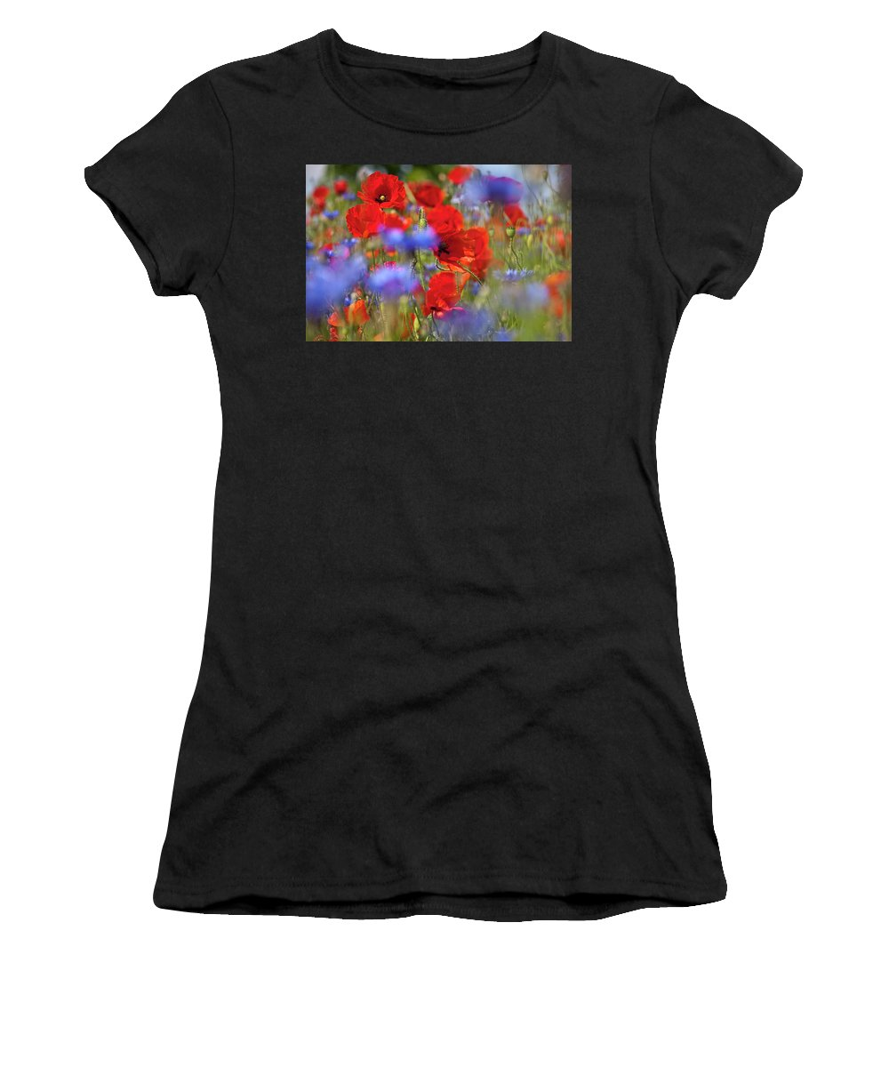 Poppy Women's T-Shirt (Athletic Fit) featuring the photograph Red Poppies In The Maedow by Heiko Koehrer-Wagner