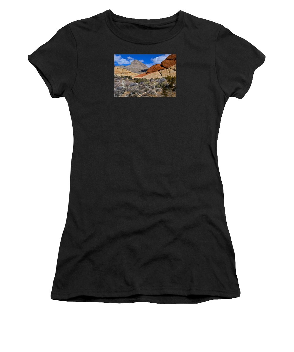 Red Rock Canyon Women's T-Shirt (Athletic Fit) featuring the photograph Red Rock Canyon Nevada by Venetia Featherstone-Witty