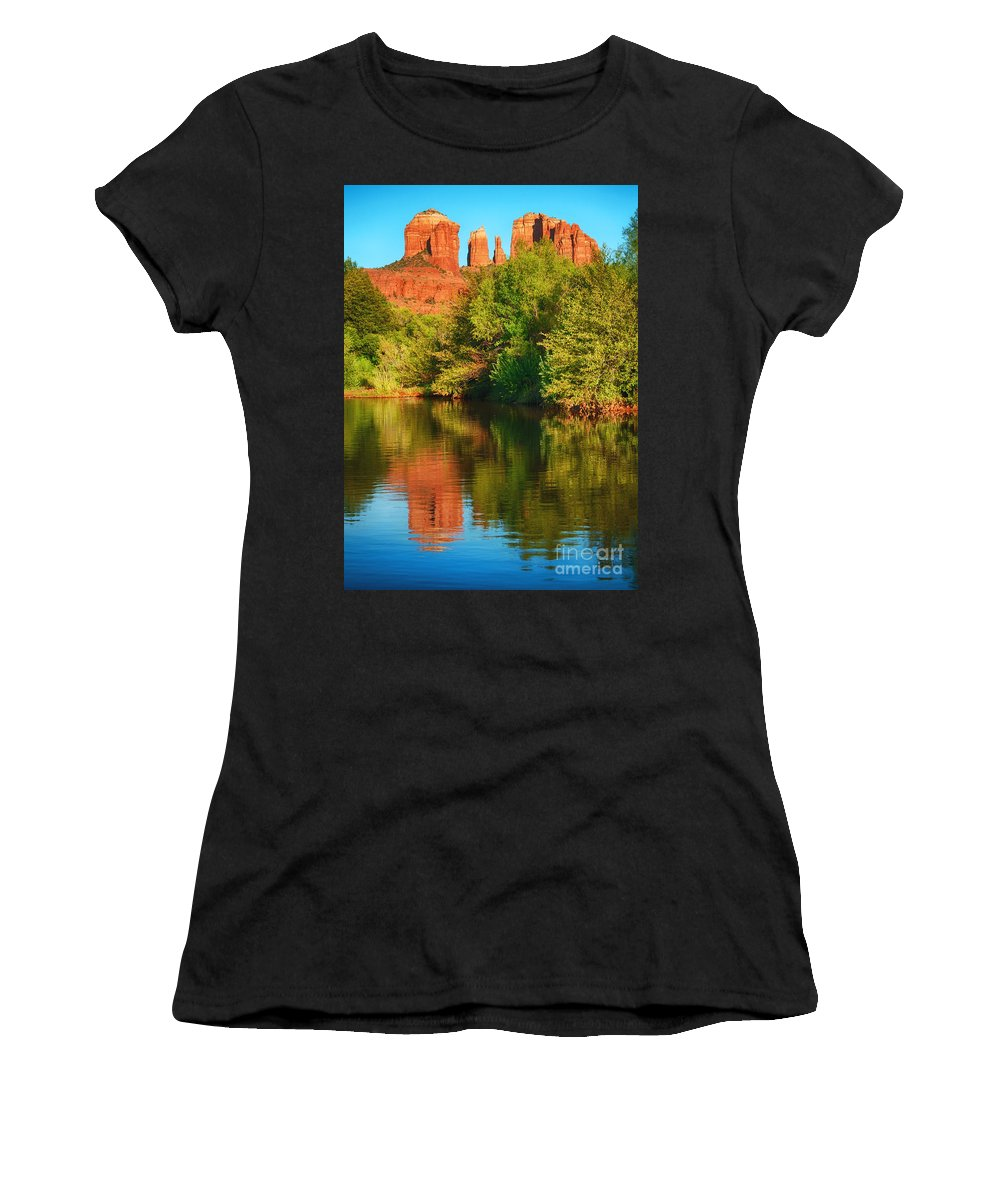 Oak Creek Women's T-Shirt featuring the photograph Red Rock Reflection by Claudia Kuhn