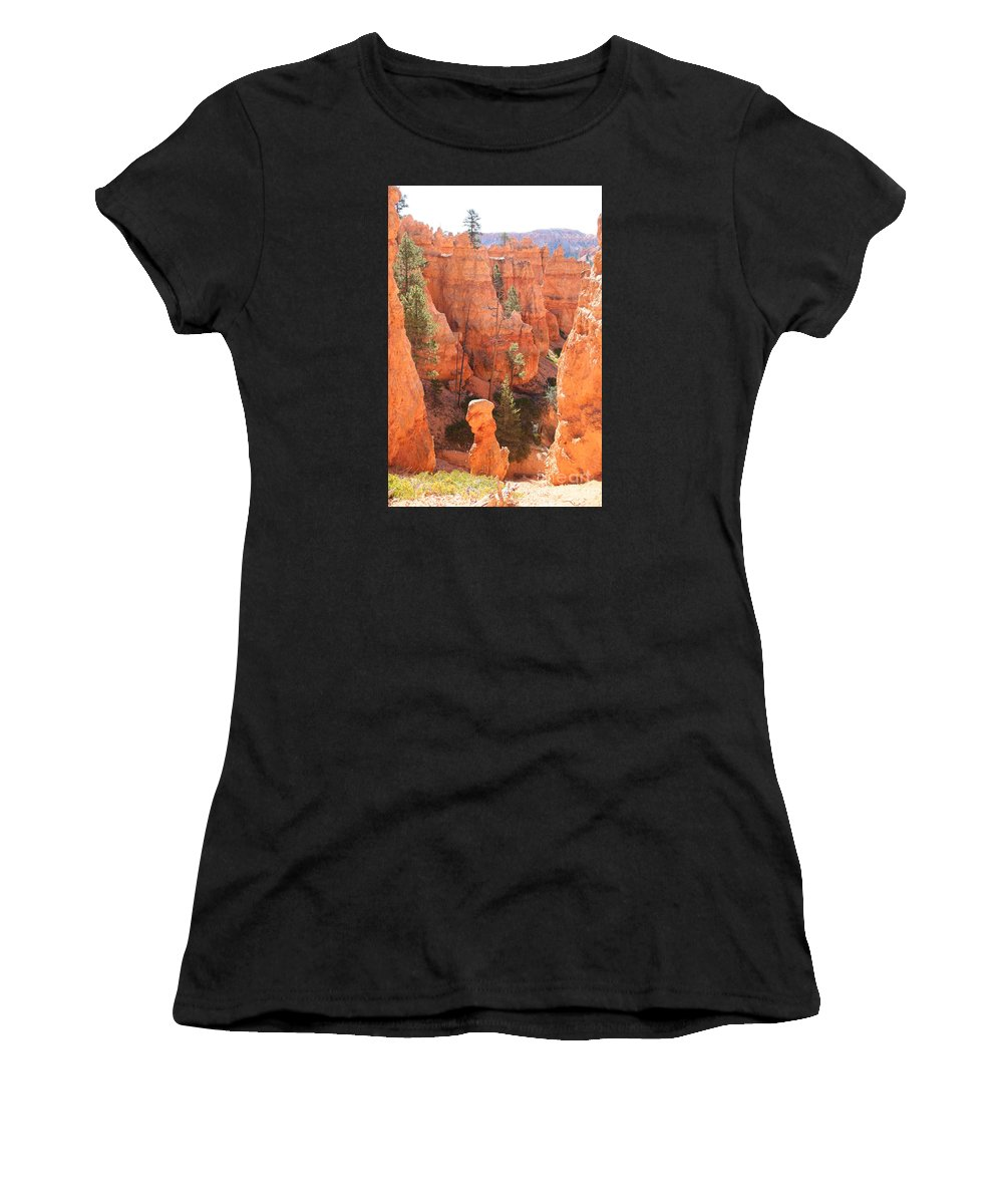 Canyon Women's T-Shirt (Athletic Fit) featuring the photograph Red Rocks - Bryce Canyon by Christiane Schulze Art And Photography