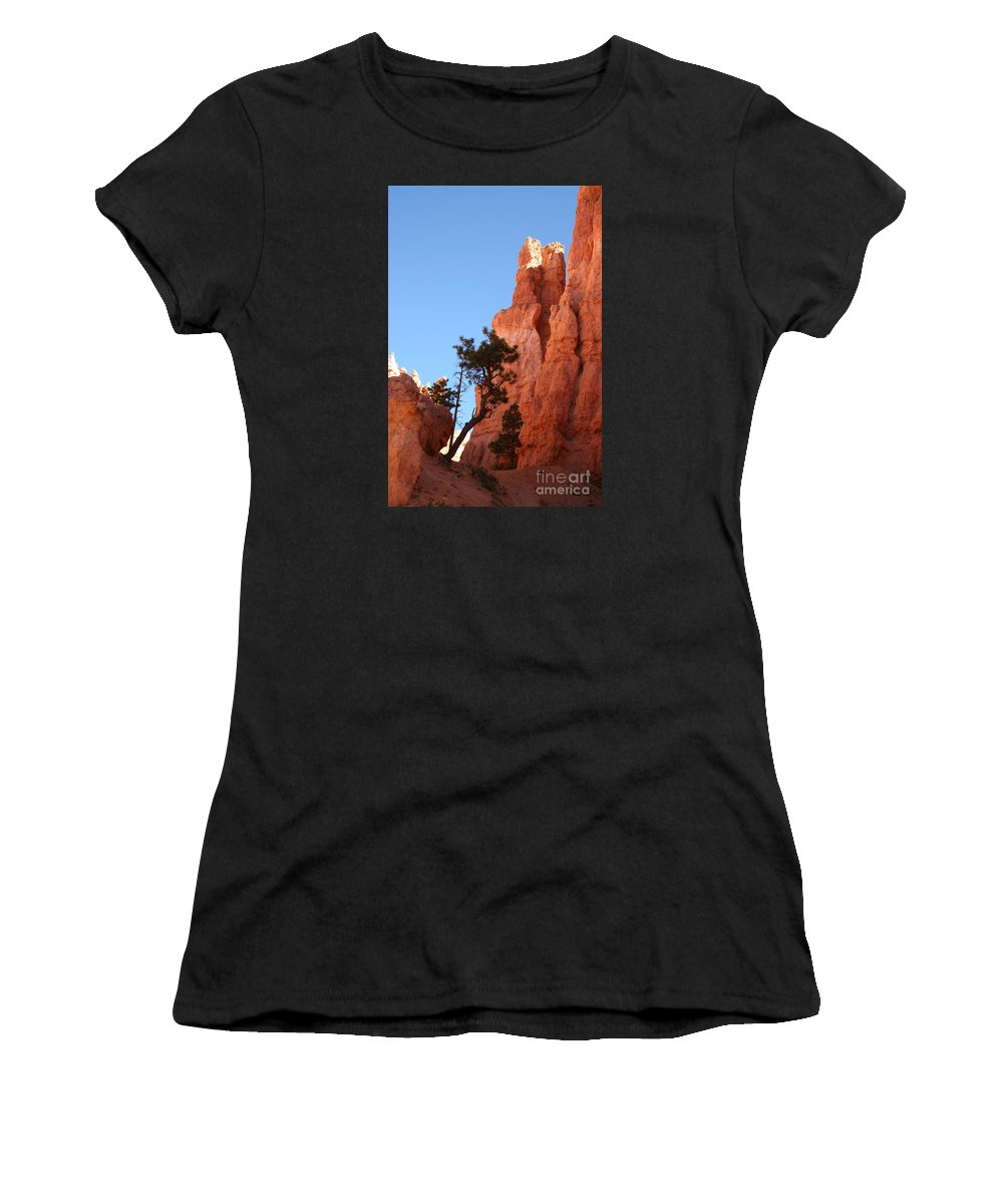 Canyon Women's T-Shirt (Athletic Fit) featuring the photograph Red Rocks Of Bryce Canyon by Christiane Schulze Art And Photography