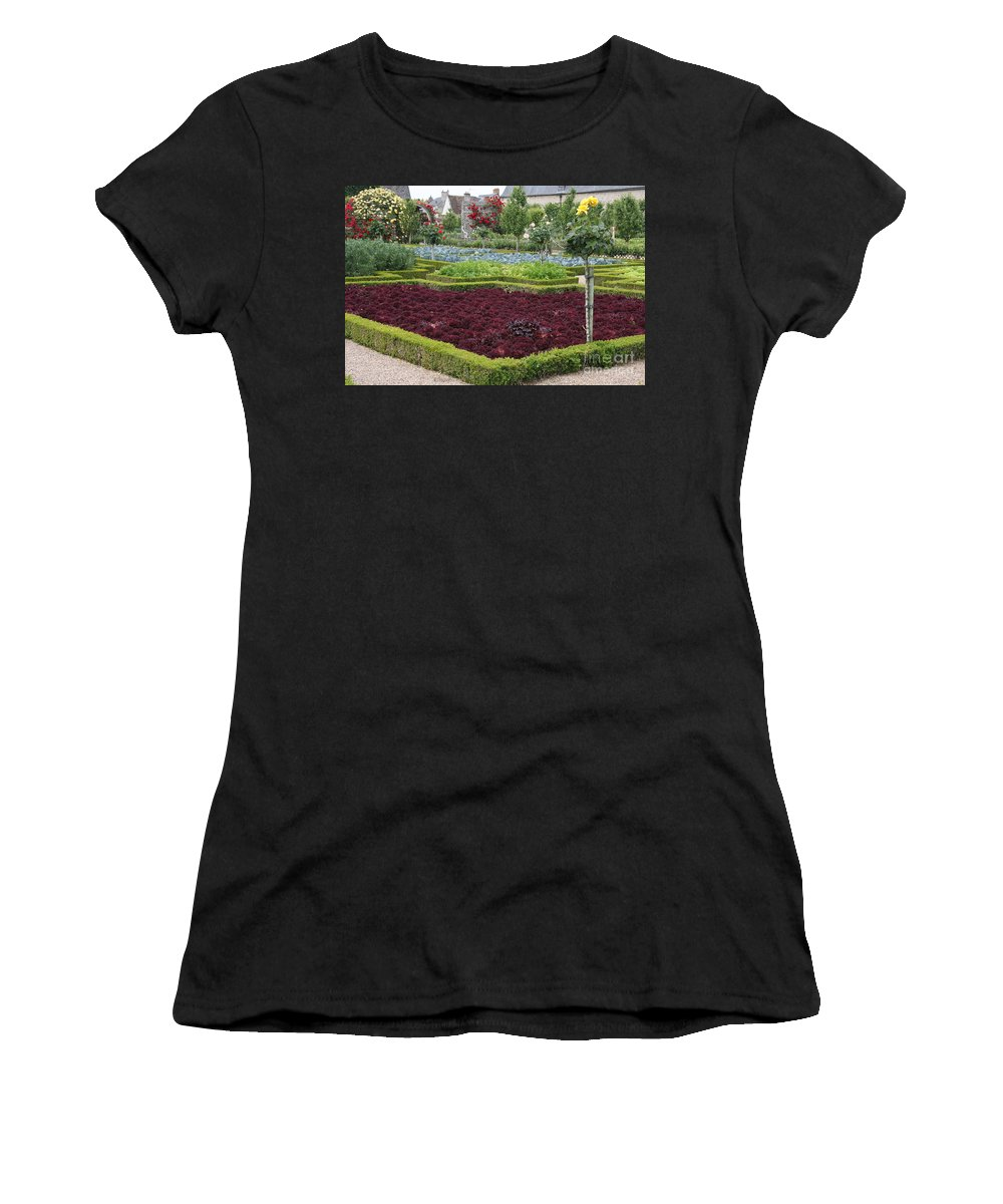 Salad Women's T-Shirt featuring the photograph Red Salad And Roses - Chateau Villandry Garden by Christiane Schulze Art And Photography