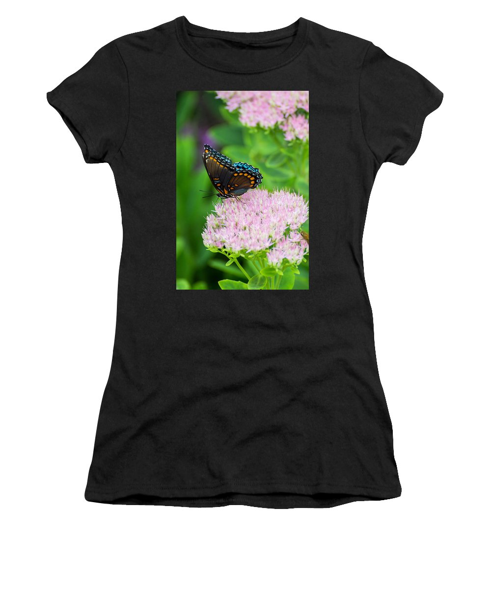 Butterfly Women's T-Shirt (Athletic Fit) featuring the photograph Red Spotted Admiral On Sedum - Vertical by Photographic Arts And Design Studio