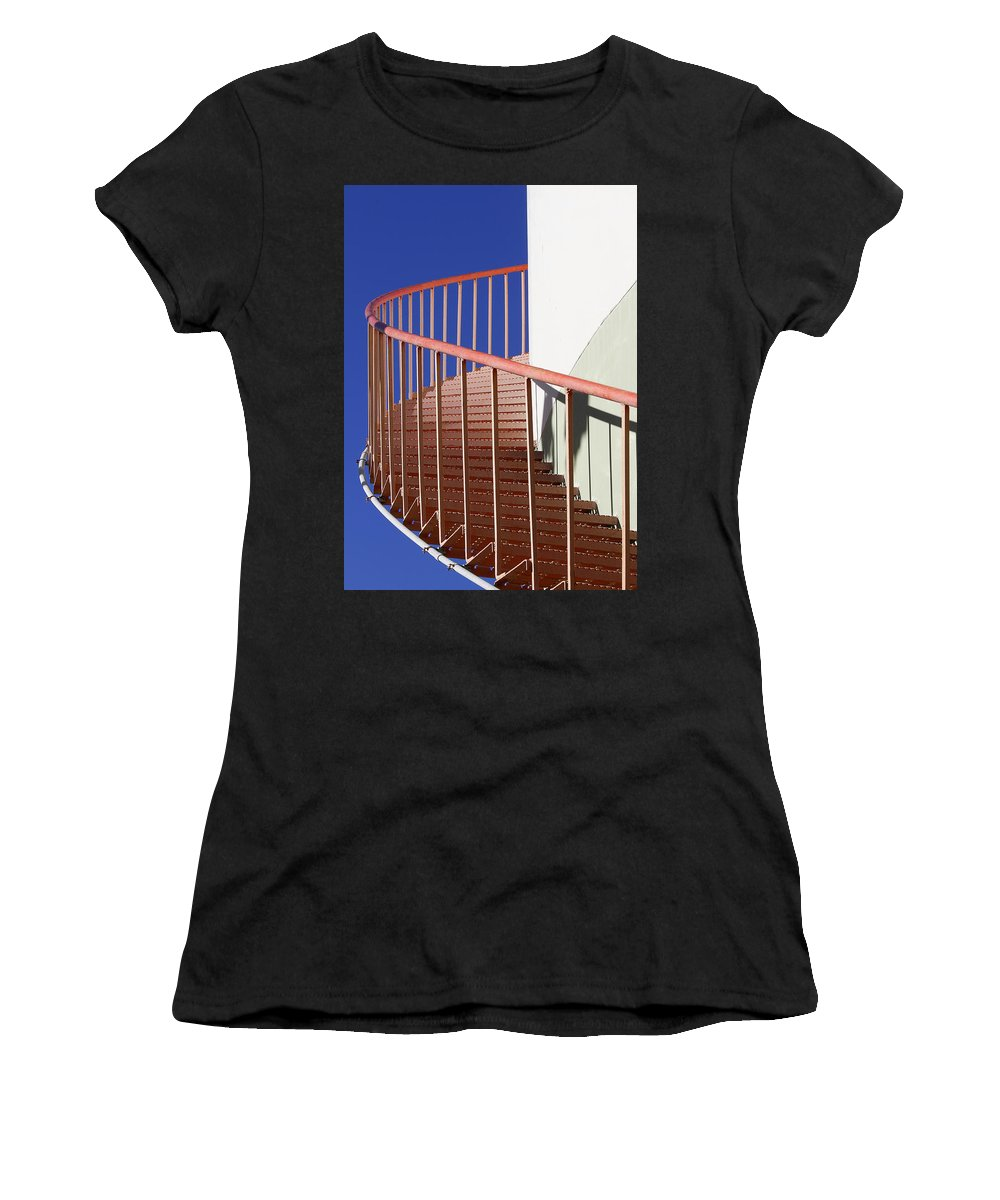 Red Women's T-Shirt (Athletic Fit) featuring the photograph Red Steps On Tank 3 by Robert Woodward