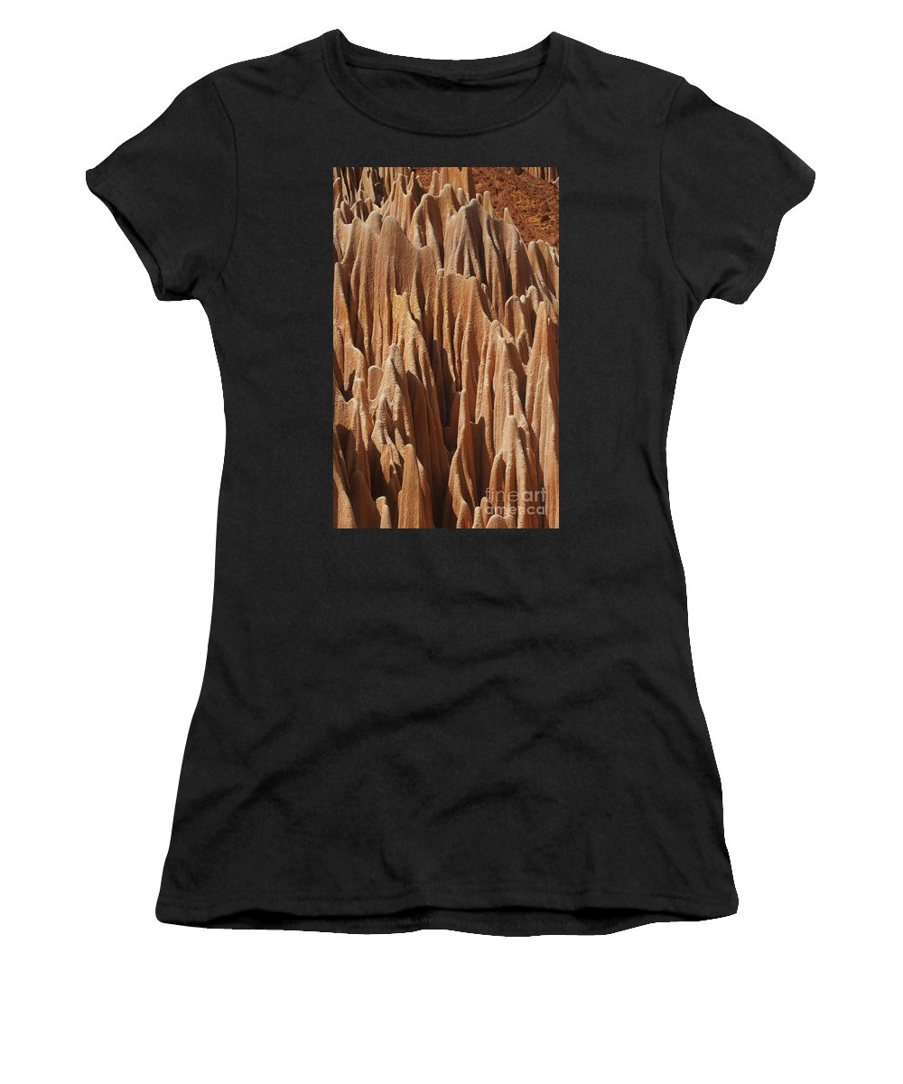 Prott Women's T-Shirt featuring the photograph red Tsingy Madagascar 5 by Rudi Prott