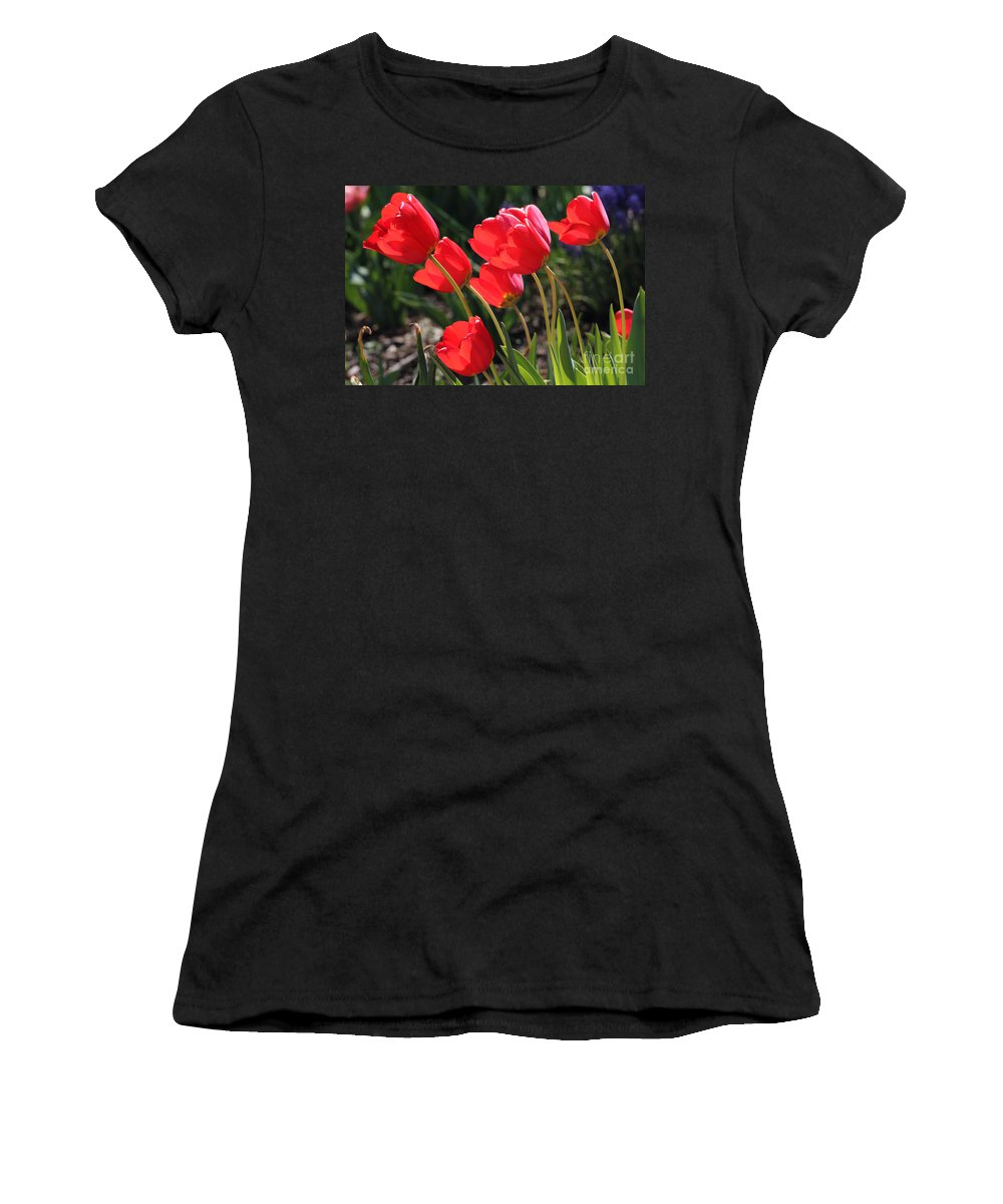 Red Tulips Women's T-Shirt (Athletic Fit) featuring the photograph Red Tulips by Trina Ansel