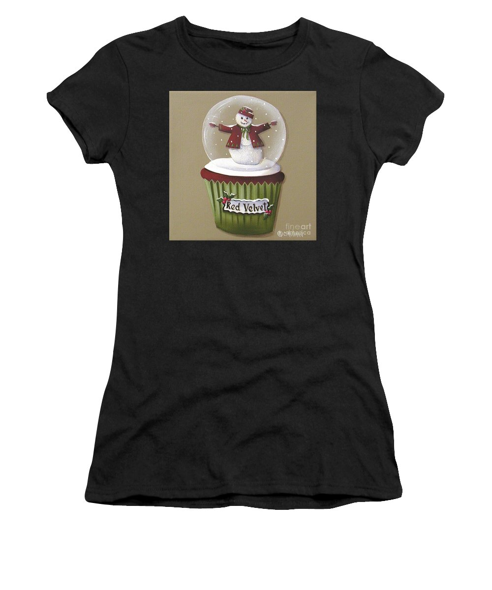 Art Women's T-Shirt (Athletic Fit) featuring the painting Red Velvet Cupcake by Catherine Holman