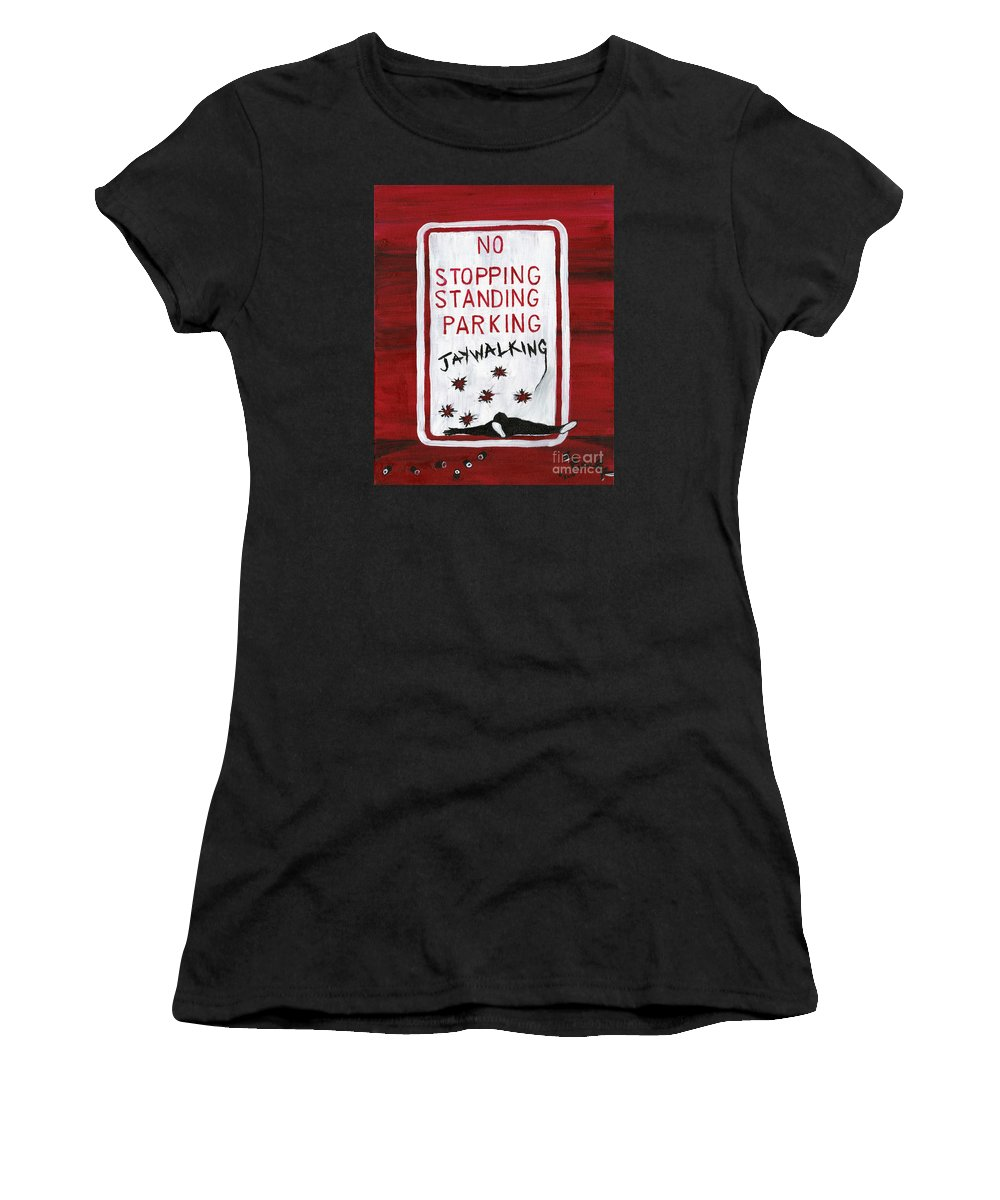 Ferguson Missouri Women's T-Shirt featuring the painting Red White And Black by Edward Fuller
