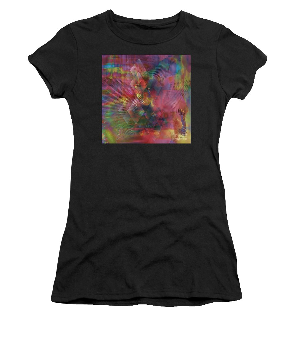 Redazzled Women's T-Shirt featuring the digital art Redazzled - Square Version by John Beck