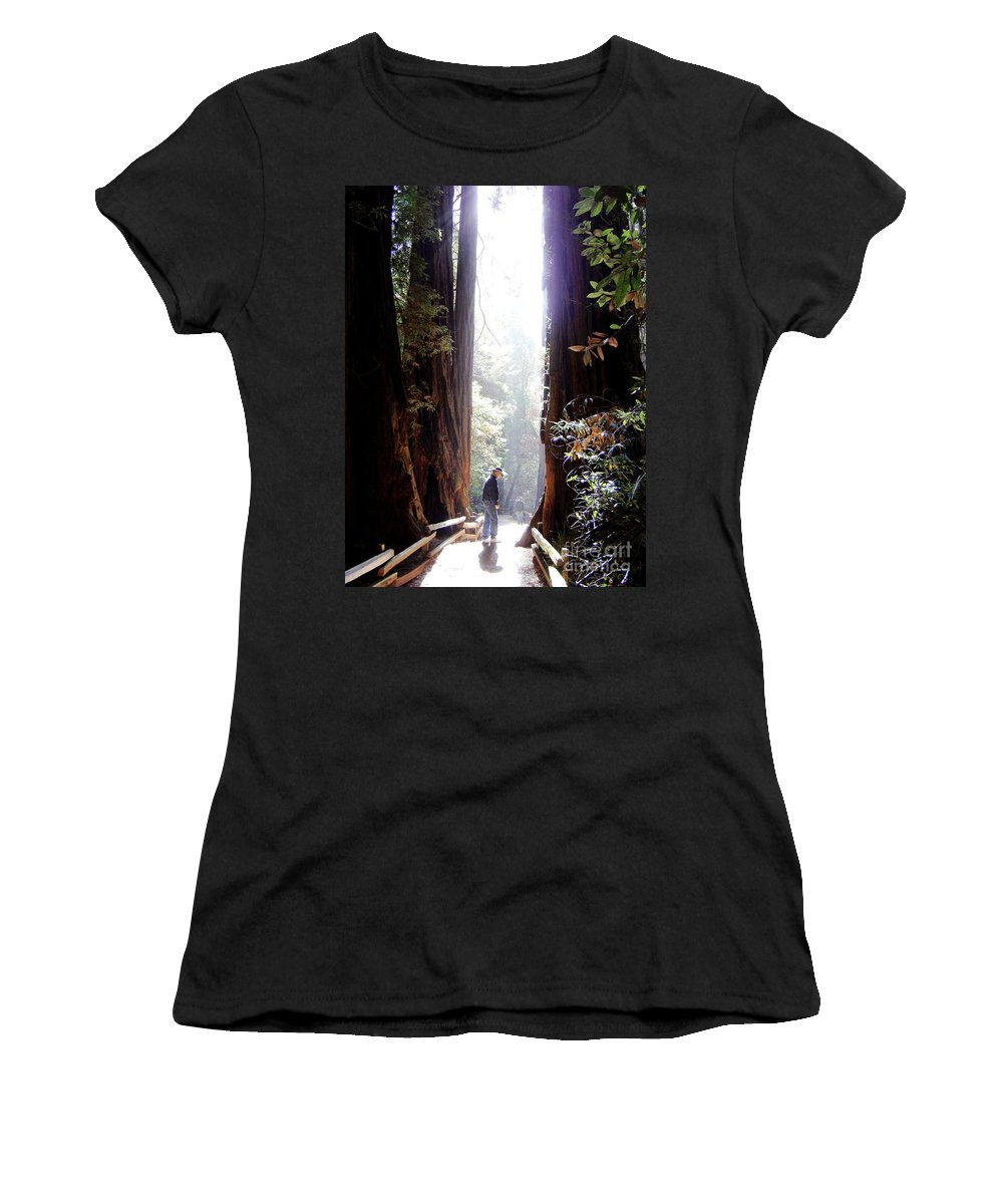 Pathway Women's T-Shirt (Athletic Fit) featuring the photograph Redwood Path by Mary Rogers