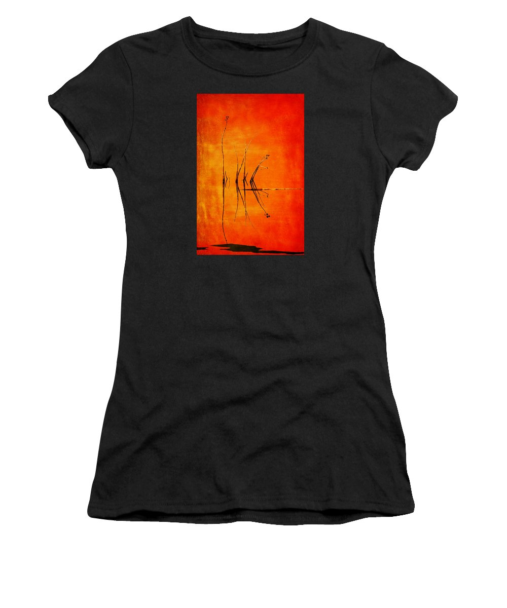 Orange Women's T-Shirt (Athletic Fit) featuring the photograph Reeds And Reflection In Orange by Nikolyn McDonald