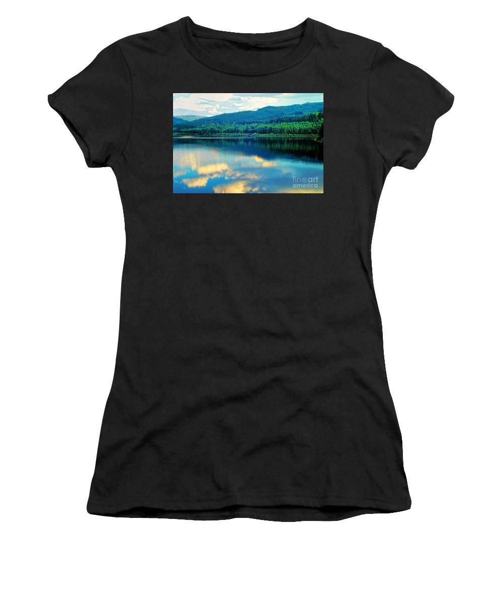 Reflection In The Water Women's T-Shirt (Athletic Fit) featuring the photograph Reflection In The Water by Mariola Bitner