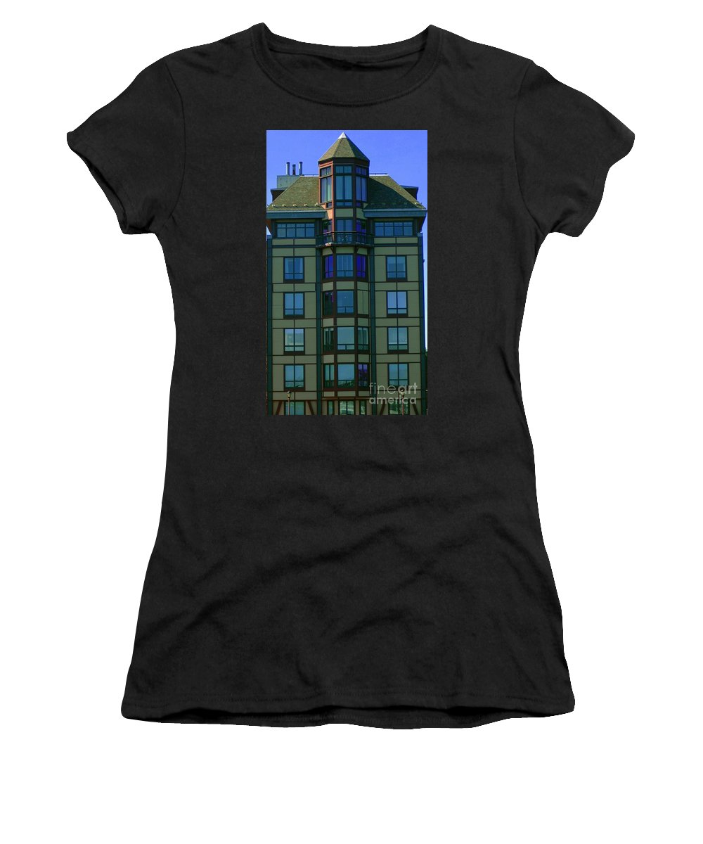 Building Women's T-Shirt (Athletic Fit) featuring the photograph Reflections In Windows by Kathleen Struckle