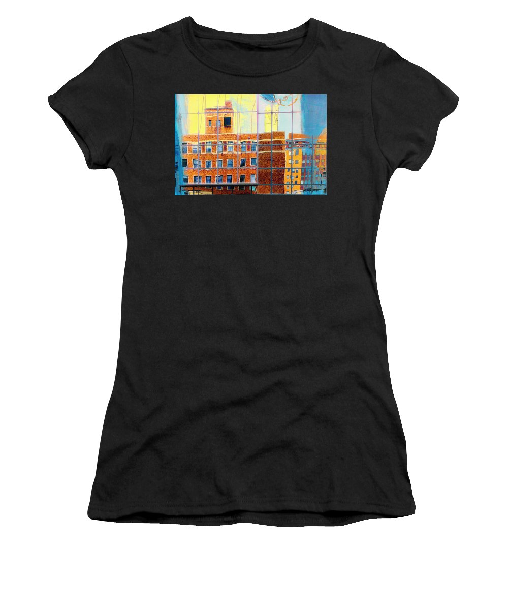 Mpls Women's T-Shirt (Athletic Fit) featuring the photograph Reflections Of A City by Susan Stone