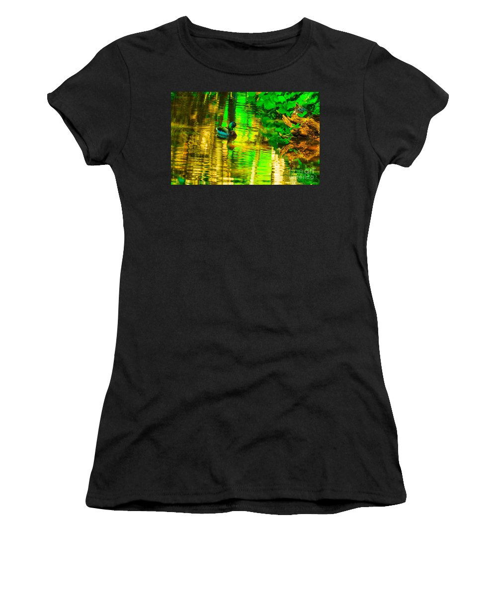 Reflection Women's T-Shirt (Athletic Fit) featuring the photograph Reflections Of A Mallard Duck by Michael Moriarty