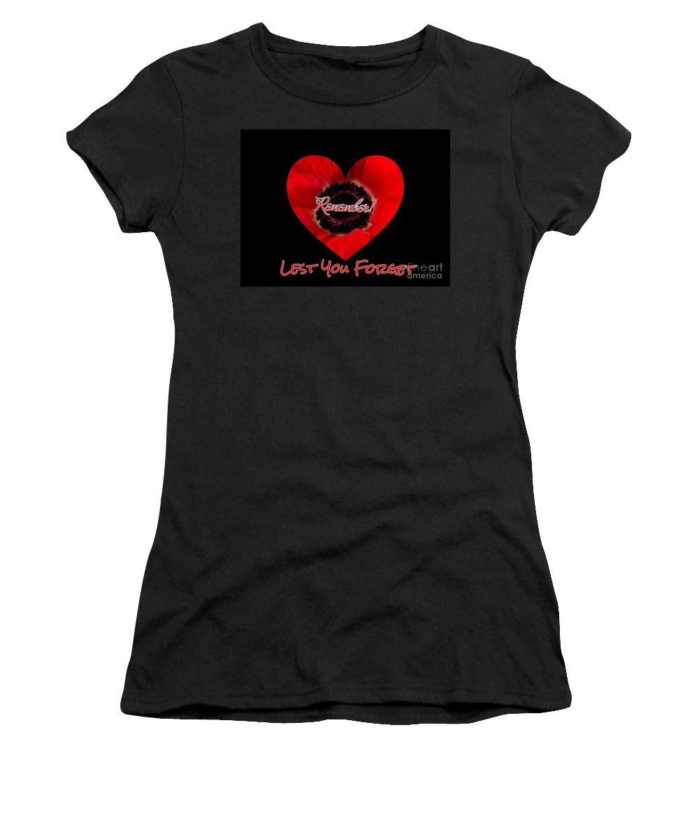 Poppies Women's T-Shirt (Athletic Fit) featuring the photograph Remember With Love by Joan-Violet Stretch
